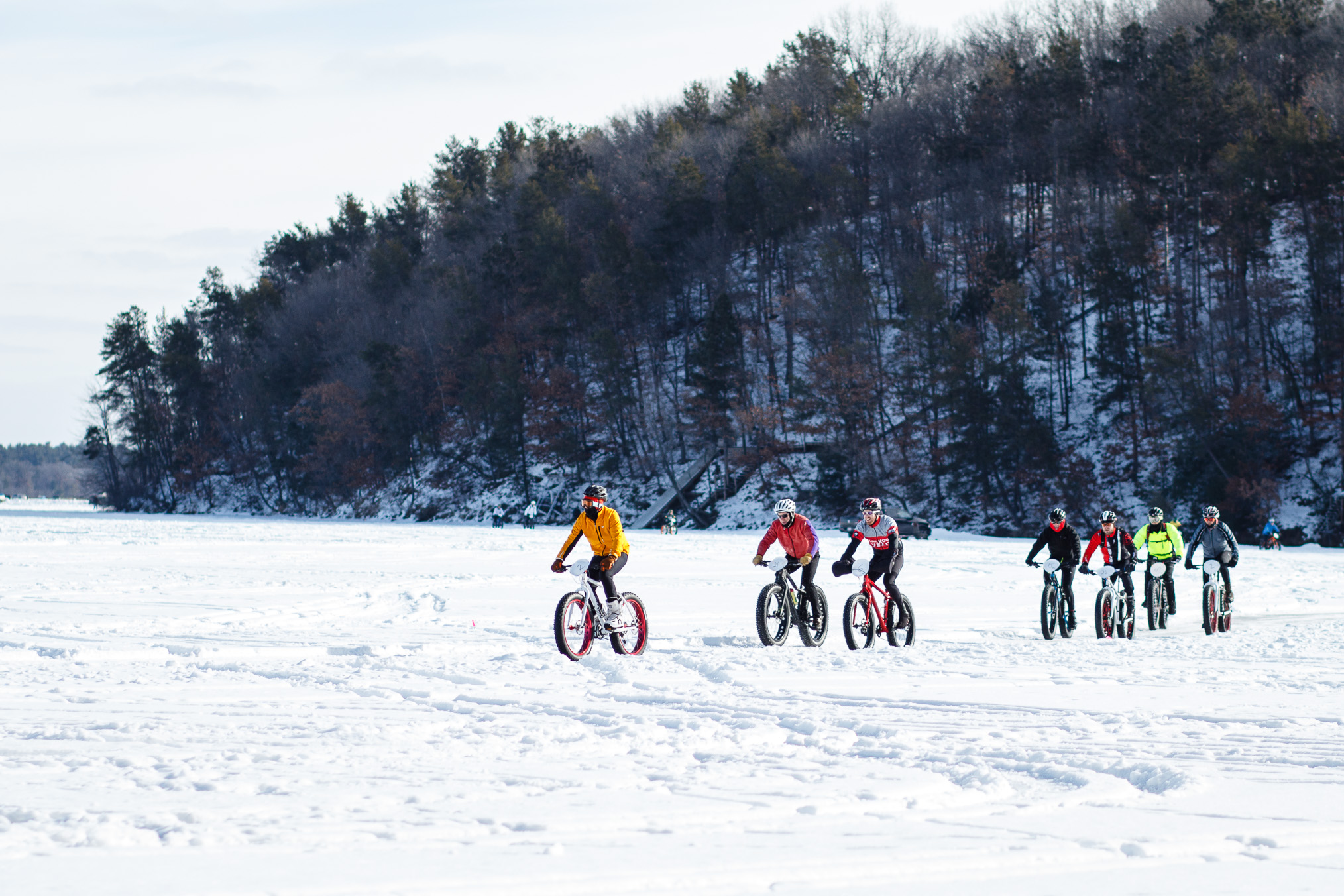 Fat-Bike Race on Lake Altoona, Wisconsin- Chippewa Off Road Bike Association