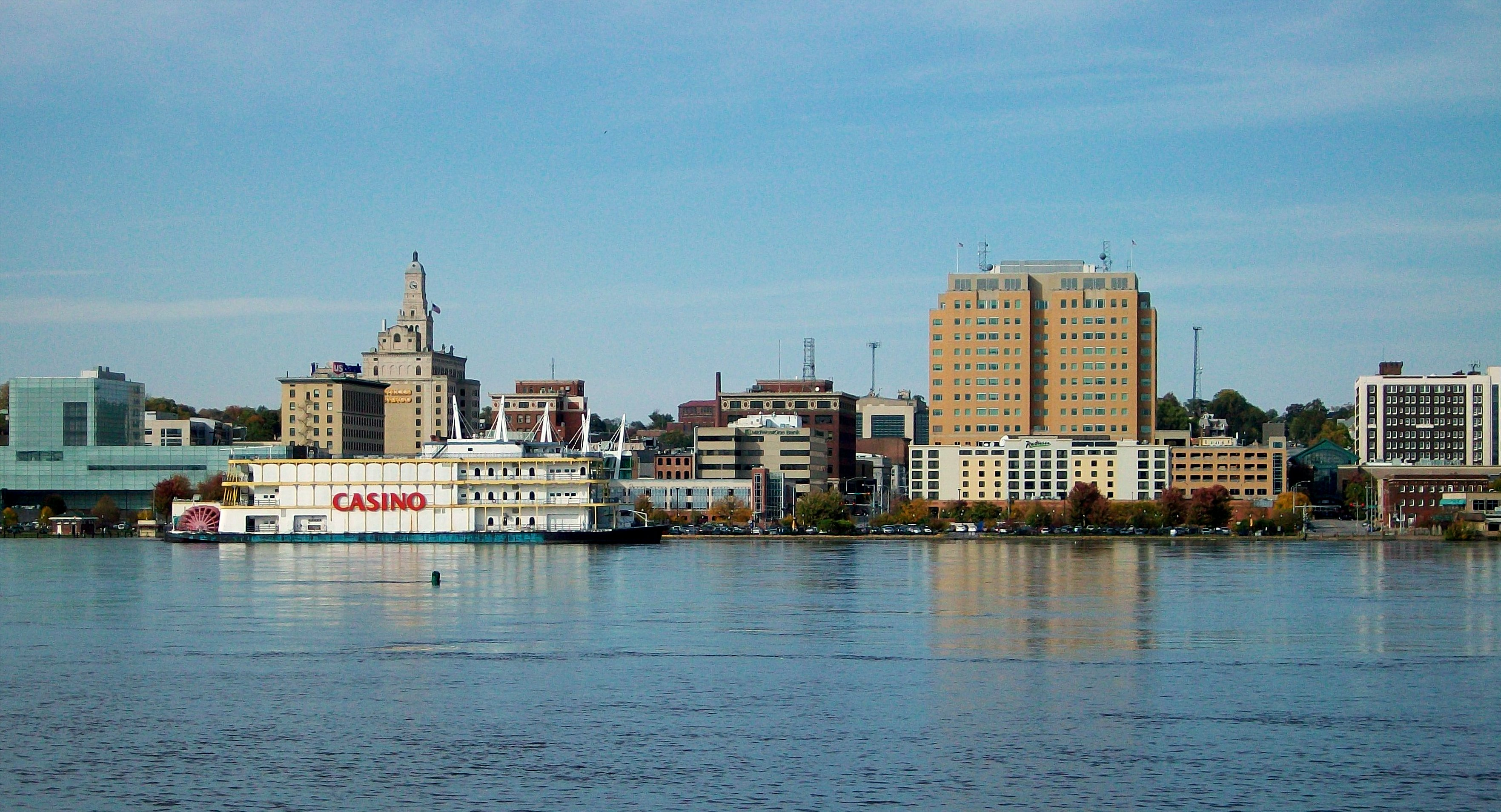 Downtown Davenport, Iowa looking across the Mississippi River from Rock Island, Illinois by ctfj83 - Public Domain