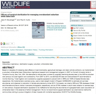 Surgical sterilization article in Wildlife Society Bulletin October 2016