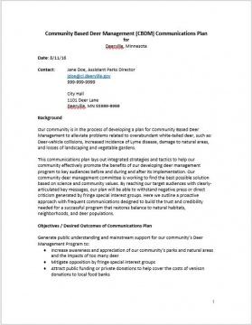 Generic Communications Plan for Deerville